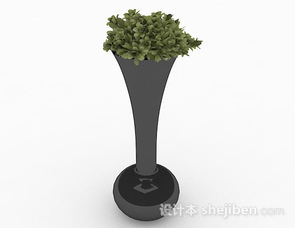 黑色喇叭状长颈花瓶