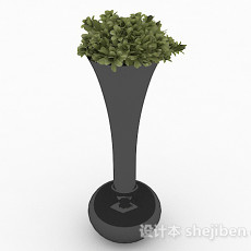 黑色喇叭状长颈花瓶3d模型下载