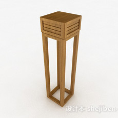 单个浅木色花架3d模型下载