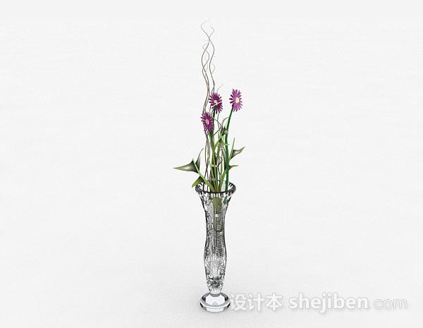 家居广口玻璃花瓶摆件
