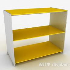 黄色简约三层鞋柜3d模型下载