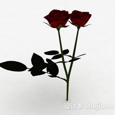红色玫瑰3d模型下载