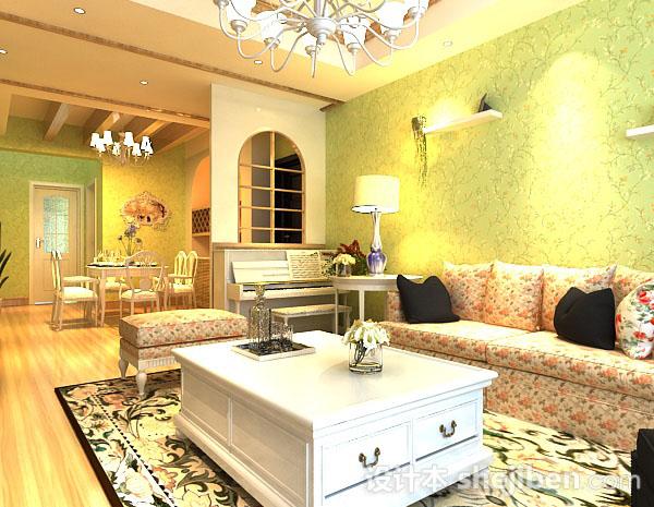 田园风格客厅整体3d模型