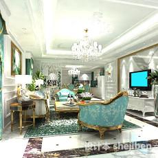 简欧客厅3d模型下载