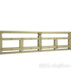 棕色木质栏杆3d模型下载