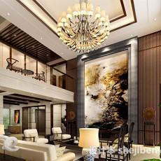 复式中式客厅3d模型下载