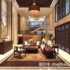 中式客厅天花吊顶3d模型下载