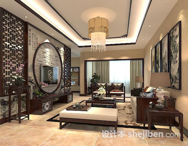 中式客厅吊顶吊灯模型