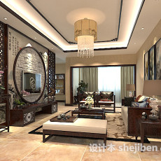 中式客厅吊顶吊灯3d模型下载