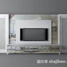现代电视背景墙 3d模型下载