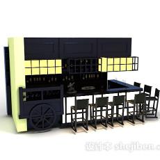 酒柜吧台3d模型下载
