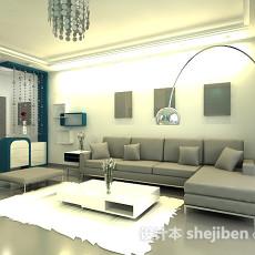 时尚客厅和餐厅3d模型下载