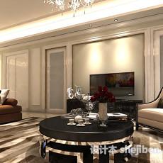 欧式简约客厅3d模型下载