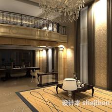 欧式客厅复式楼3d模型下载