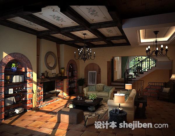 田园客厅3d模型