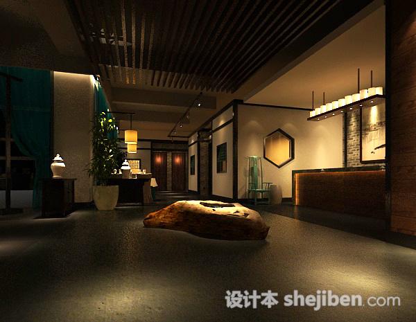 中式大厅3d模型下载