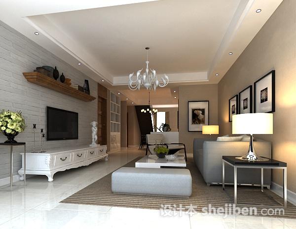 现代简约客厅挂画模型