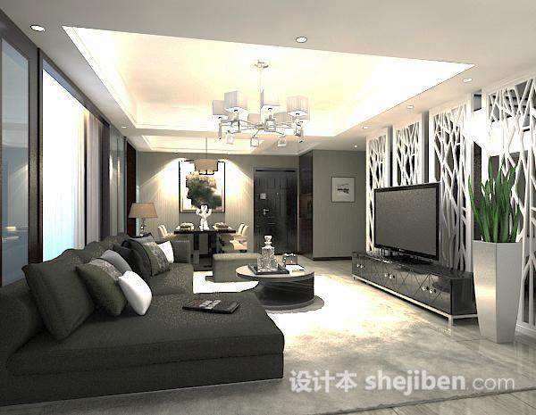 家装客厅隔断模型