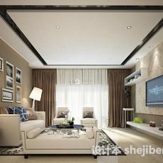 现代客厅窗帘3d模型下载
