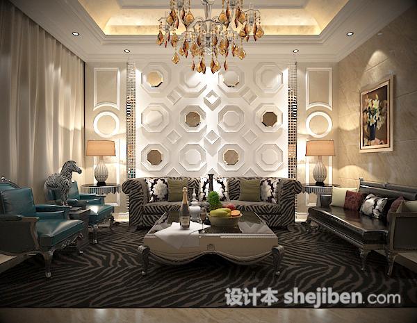 沙发背景墙模型