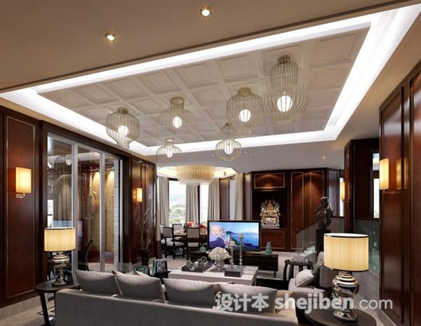 新中式风格客厅吊灯模型
