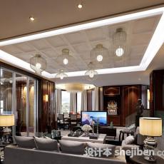 新中式风格客厅吊灯3d模型下载