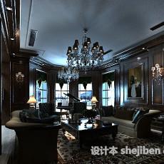 美式别墅客厅3d模型下载