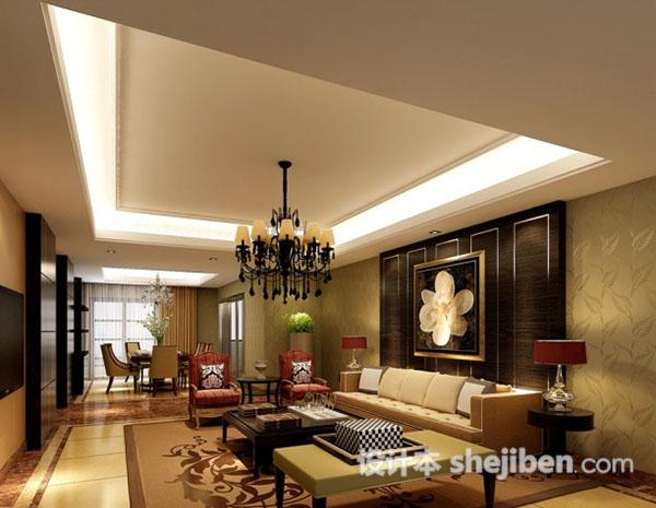 新中式客厅吊顶吊灯模型
