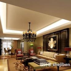 新中式客厅吊顶吊灯3d模型下载