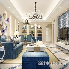 清新地中海客厅3d模型下载