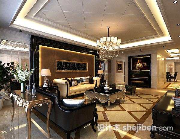 欧式客厅水晶吊灯3d模型