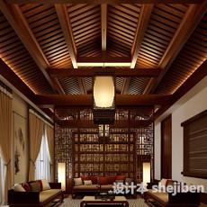 中式客厅木质吊顶3d模型下载