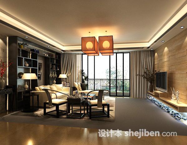 新中式客厅吊灯模型