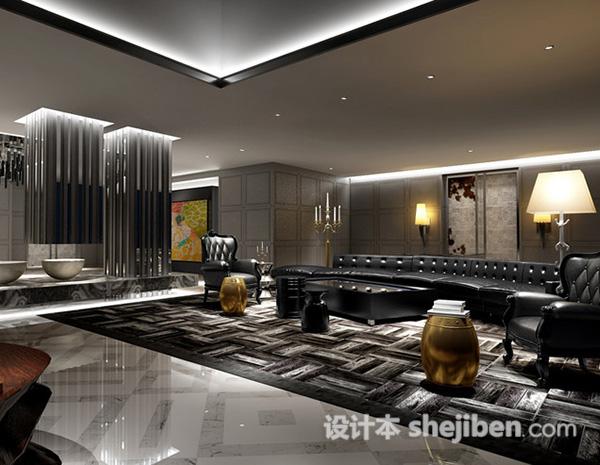 豪华奢侈客厅室内设计3d模型下载