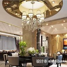 餐厅吊顶吊灯3d模型下载