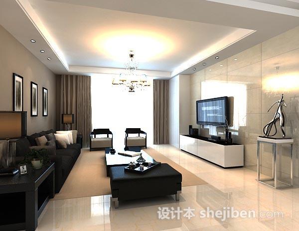 简约客厅窗帘模型