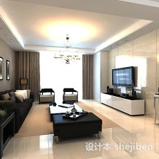 简约客厅窗帘3d模型下载