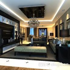 新中式客厅电视柜3d模型下载