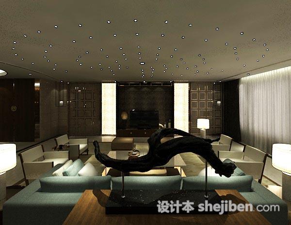 3d现代简约客厅模型