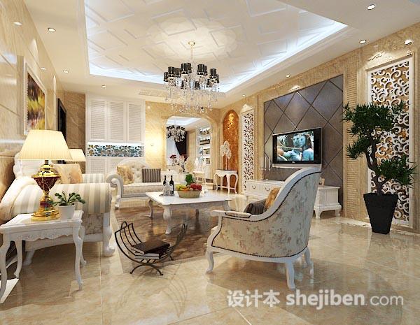 3d欧式室内客厅模型