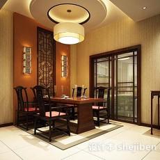 中式风格餐厅背景墙3d模型下载