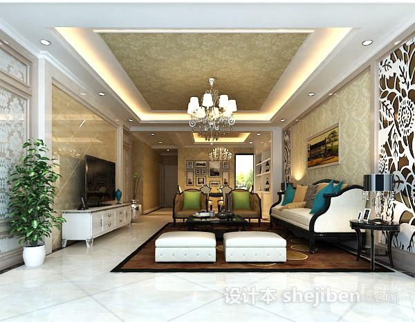 3d室内客厅吊顶模型