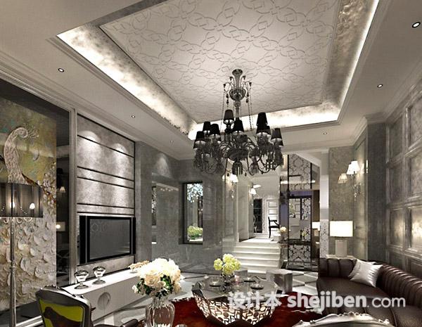 欧式客厅吊顶吊灯模型