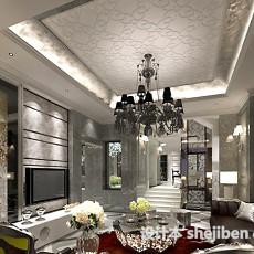 欧式客厅吊顶吊灯3d模型下载