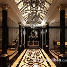 欧式酒店大厅3d模型下载