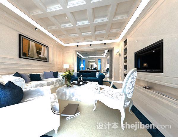 欧式客厅组合沙发模型
