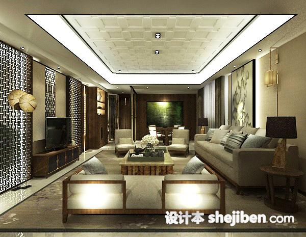 中式简约客厅3d模型