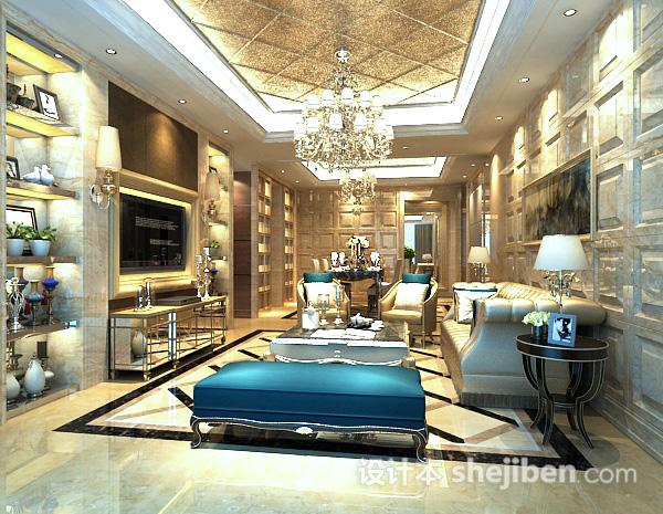 欧式客厅水晶灯3d模型