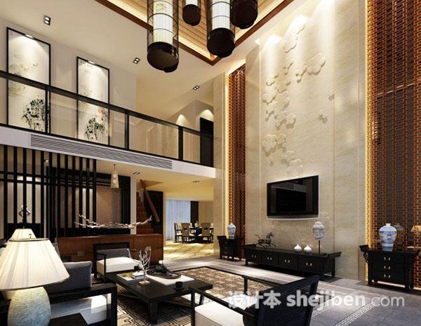 复式楼客厅整体模型