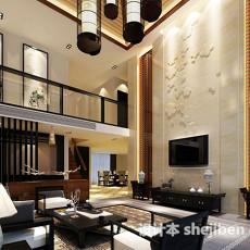 复式楼客厅整体3d模型下载